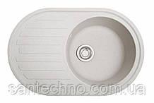 Кругла гранітна мийка з великим крилом Galati Elegancia