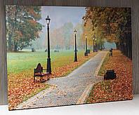 Светящаяся картина осенний парк с фонарями, 30х40 см (940058)