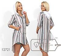 Рубашка-фрак в полоску, с застежкой на кнопках по все длине, рукавами-фонариками и накладными карманами по лиц больше серого