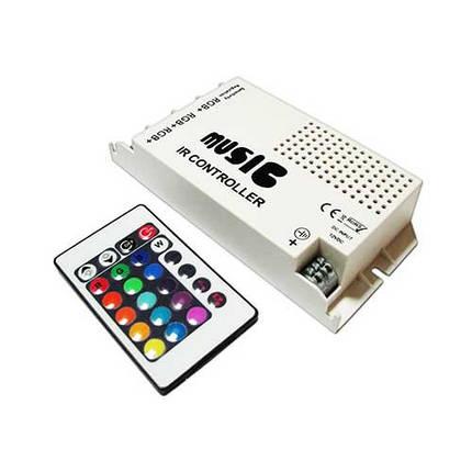 Музыкальный контроллер для LED ленты RGB IK-управление 24 кнопок 60 ВТ. звукочувствительный, фото 2