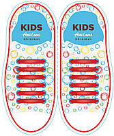 Шнурки силиконовые для обуви AntiLaces Kids Красный 38мм, KR38
