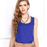 Блуза женская без рукавов / Майка шифоновая синяя