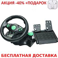 Игровой мультимедийный универсальный руль vibration steering wheel ps3 ps2 pc USB Original size+Наушники    , фото 1