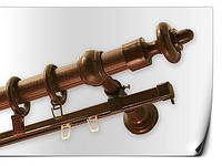 Карниз круглый  двойной труба+шина 3м махонь