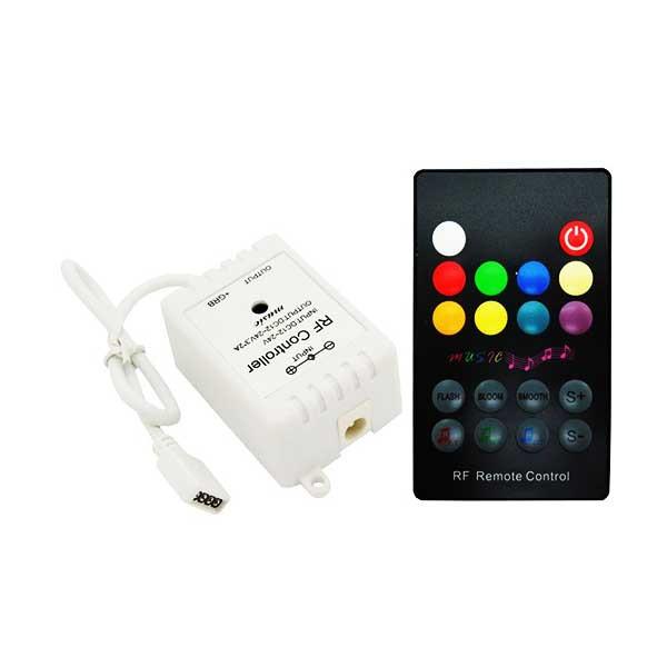 Музыкальный контроллер для LED ленты RGB радиоуправление 18 кнопок 72 ВТ. звукочувствительный
