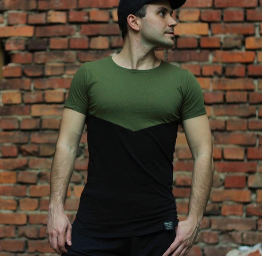 Мужская футболка летняя черная с зеленым. Живое фото. Топ качество