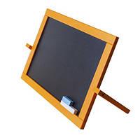 Мольберт магнітний, дерев'яний, двосторонній, настільний, жовтий, (для крейди і маркера), М009