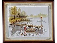 Набор для вышивки картины Домик у реки 47х37см