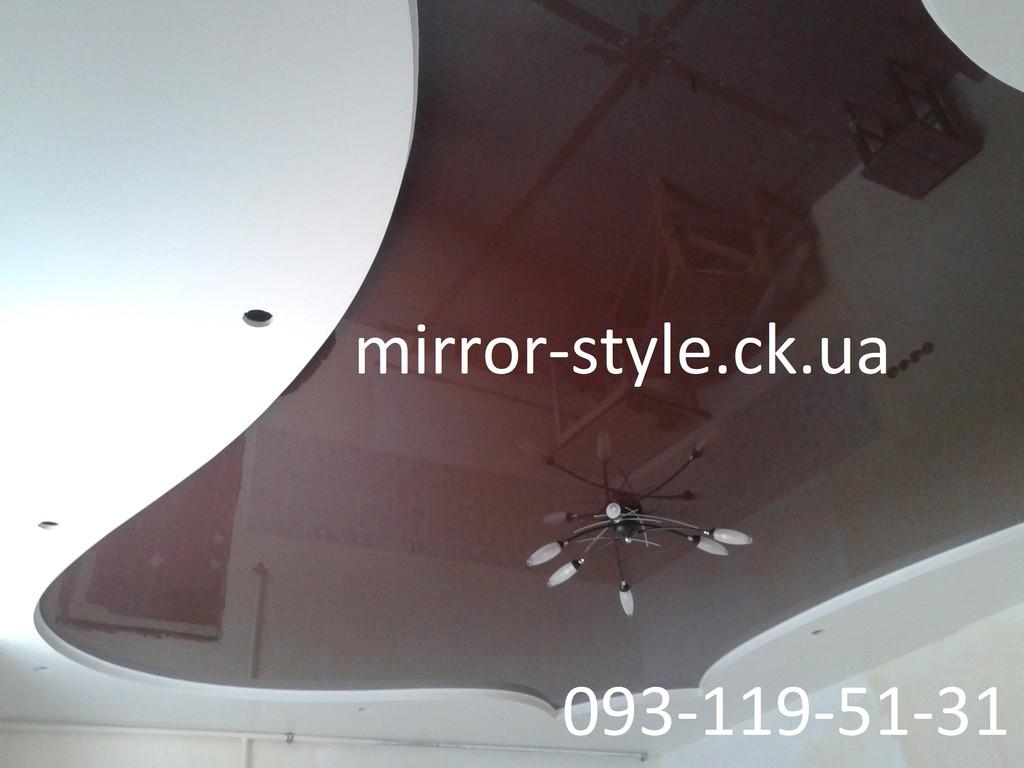 Сложный фигурный натяжной потолок на кухне в Черкассах по улице Шевченка.