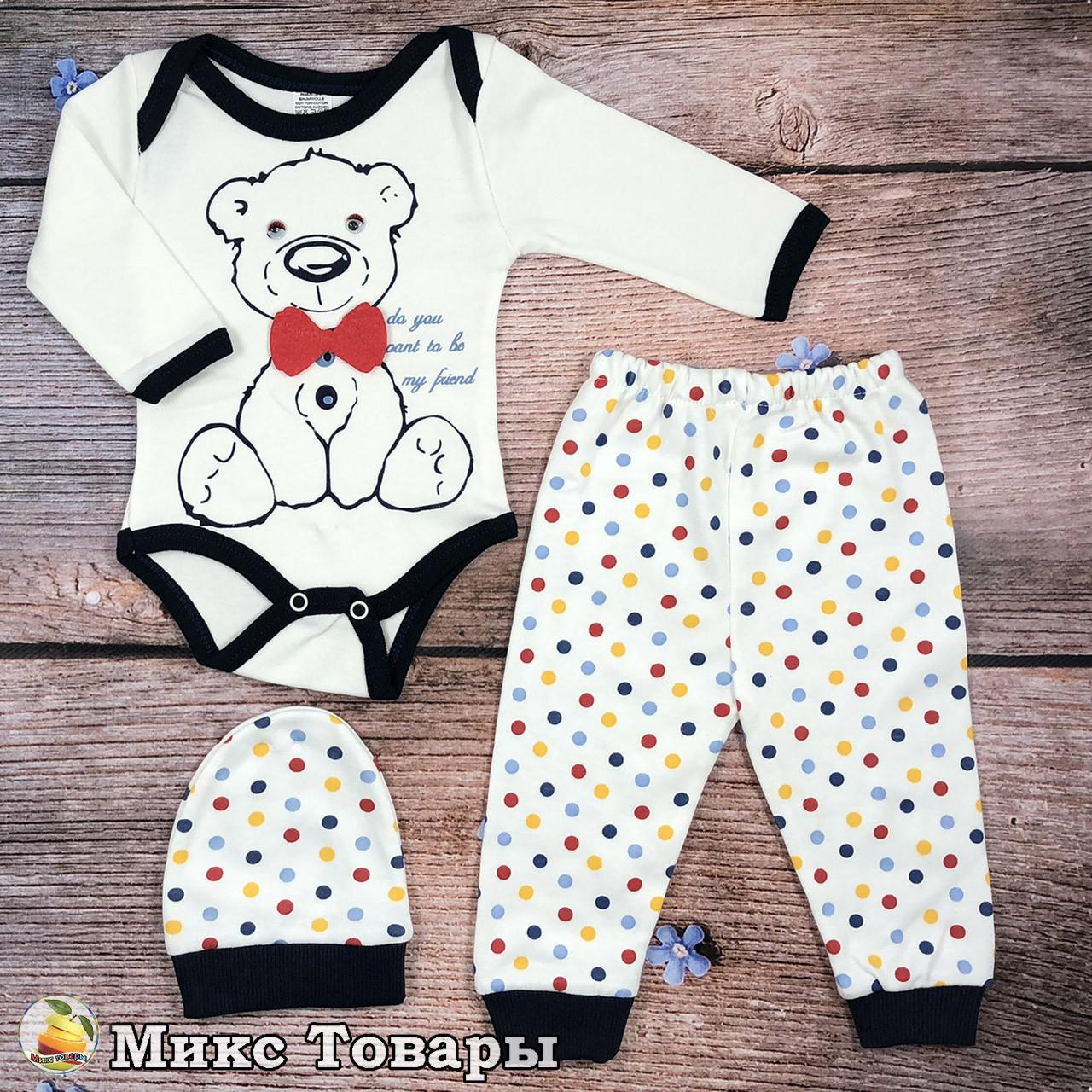 Бодик, штанишки и шапочка для малыша Размеры: 3,6,9 месяцев (8658-1)