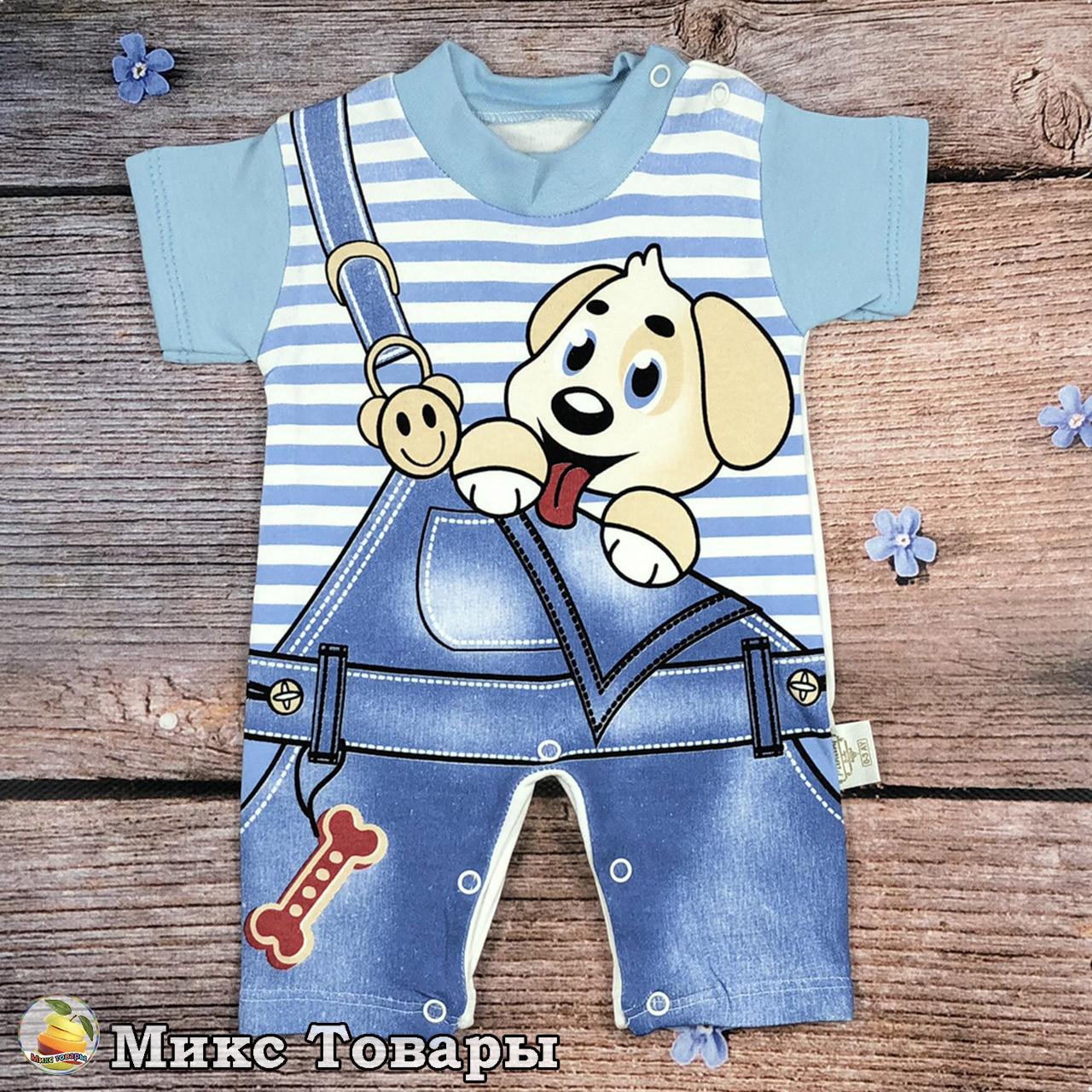 """Летний песочник """"комбинезон"""" для малыша Рост: 0 -3, 3-6, 6-9 месяцев (8661)"""