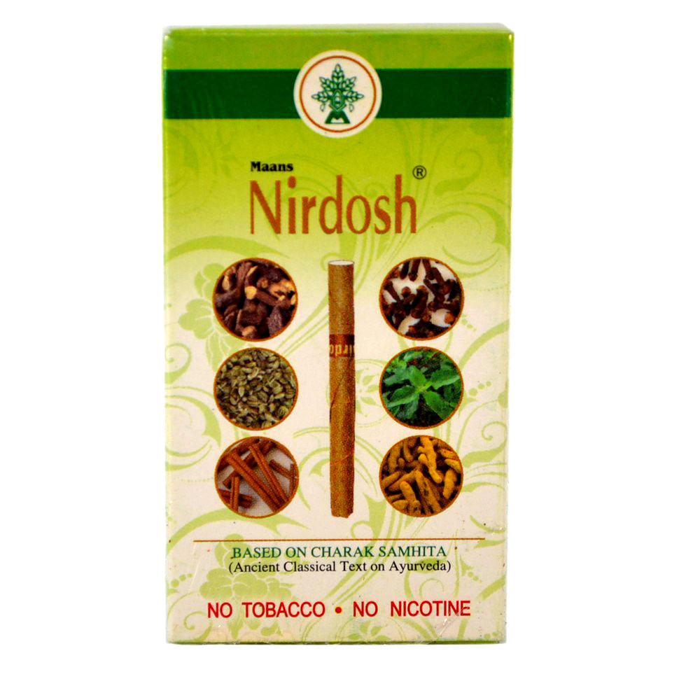 Аюрведические травяные сигареты-ингалятор Нирдош (Nirdosh Herbal Cigarettes, Maans), 10 штук
