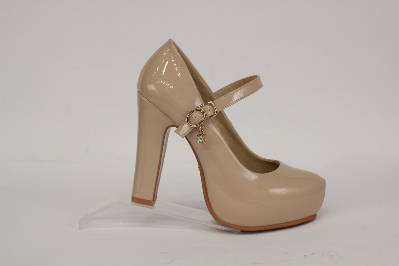 cd021d97 Туфли женские на среднем каблуке, бежевые лаковые с перемычкой - Angel  Original Brand в Харькове