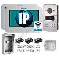 IP комплект 2 Wi-Fi видеодомофона DS-KH6310-W + двухабонентская DS-KV8202-IM