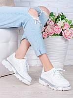 Белые кожаные женские кроссовки с серебром oc7001