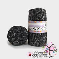 Пряжа Maccaroni PP Макраме с глитером, 1309, черный