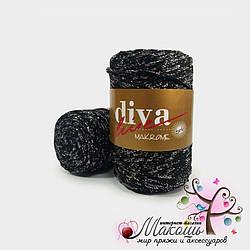 Пряжа Макраме с люрексом Diva Leine, черный с серебром