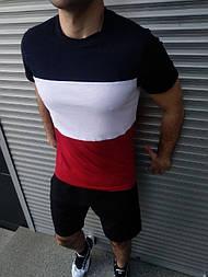 Мужской летний комплект шорты и футболка мужская синий с белым. Живое фото