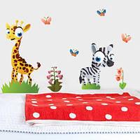 Интерьерная виниловая наклейка в детскую Жираф и зебра (детские наклейки животные, набор стикеров для детей)
