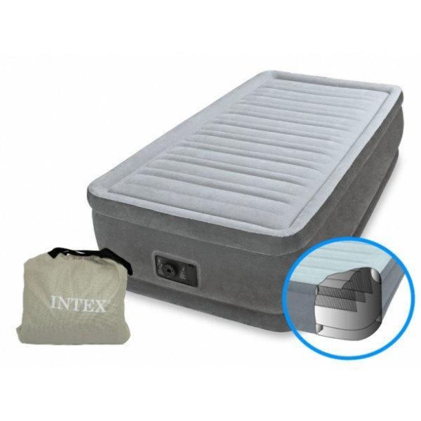 Надувная кровать-матрас Intex 64412 , встроенный электронасос. Односпальная 99 х 191 х 46