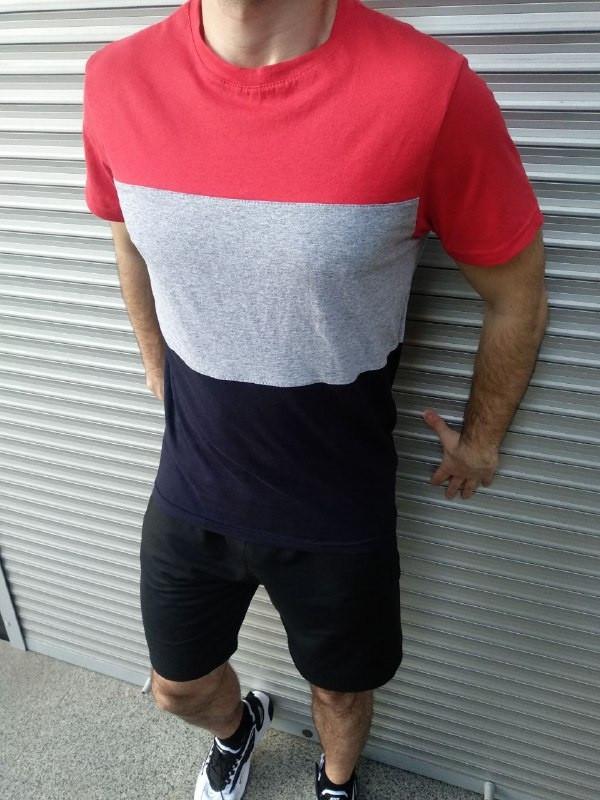 Мужской летний комплект шорты и футболка мужская красный с серым. Живое фото