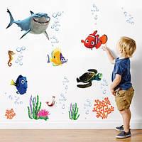 Набор морских наклеек в детскую комнату Немо (виниловые самоклеющиеся детские наклейки)