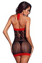 Пеньюар сетка черный с красной окантовкой, фото 2
