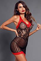 Пеньюар сетка черный с красной окантовкой, фото 3