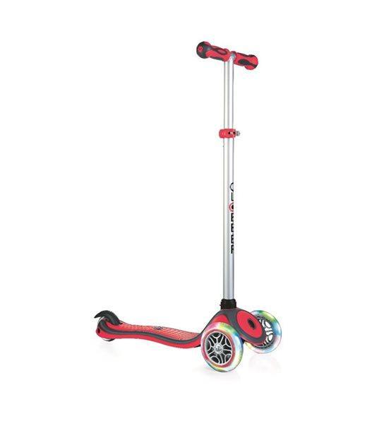 GLOBBER - Самокат серии PRIMO PLUS LIGHTS красный, колеса с подсветкой, до 50 кг, 3+