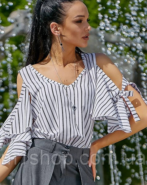 Женская полосатая блузка с разрезами на плечах (3557 svt)