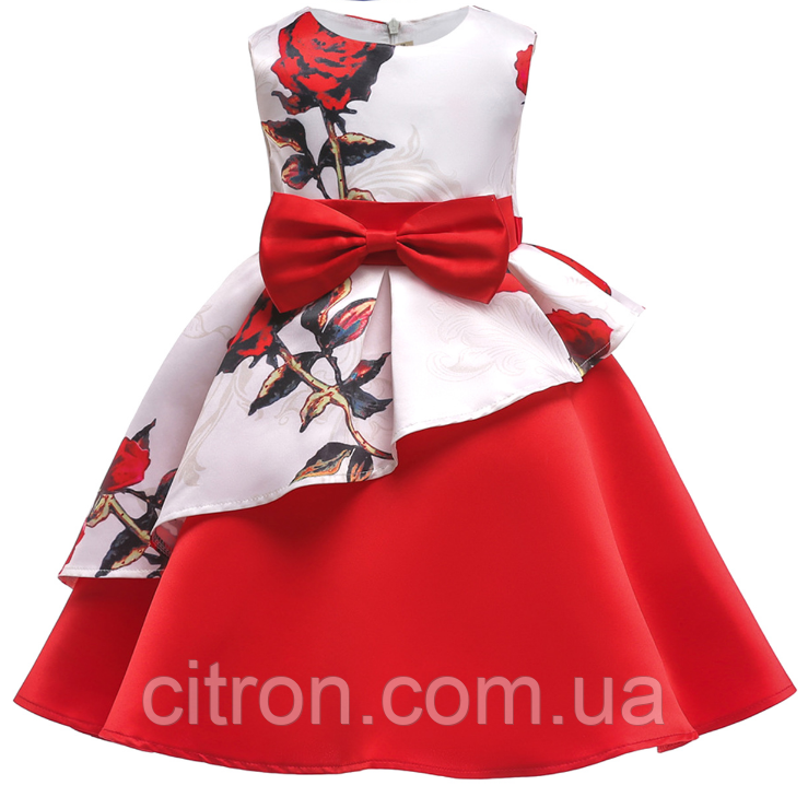 Платье красно-белое в розы нарядное для девочки
