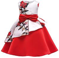 Платье красно-белое в розы нарядное для девочки, фото 1