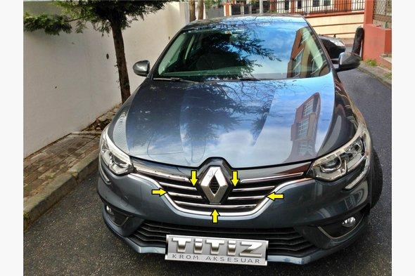 Накладки на решетку (5 шт, нерж) Renault Megane IV 2016↗ гг.