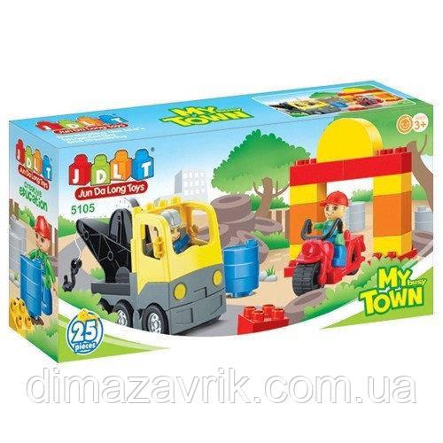 """Конструктор JDLT 5105 (Аналог Lego Duplo) """"Эвакуатор"""" 25 деталей"""