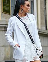 Свободный женский белый летний пиджак (3554 svt)