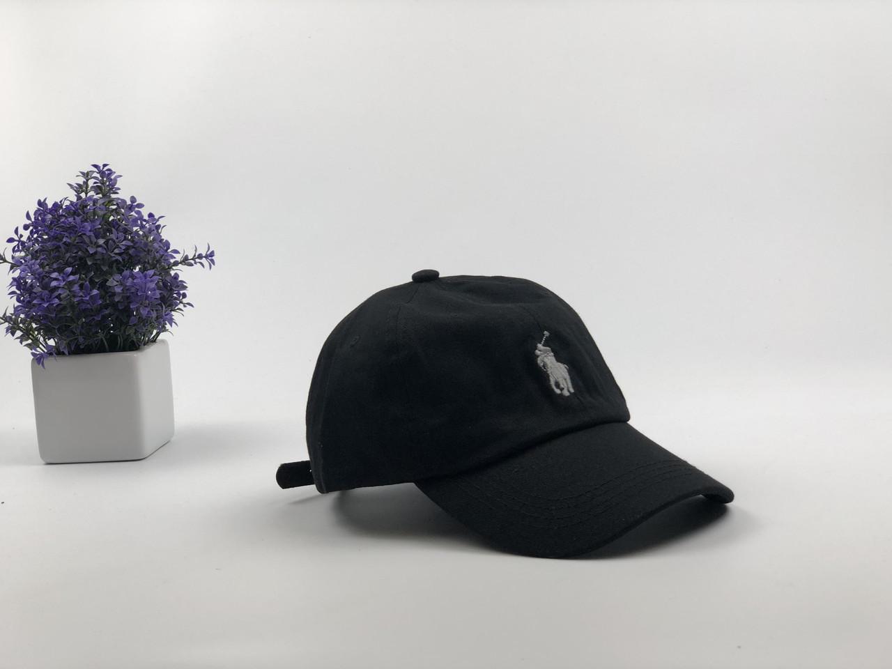 Кепка бейсболка Polo Ralph Lauren (черная с белым лого) с кожаным ремешком