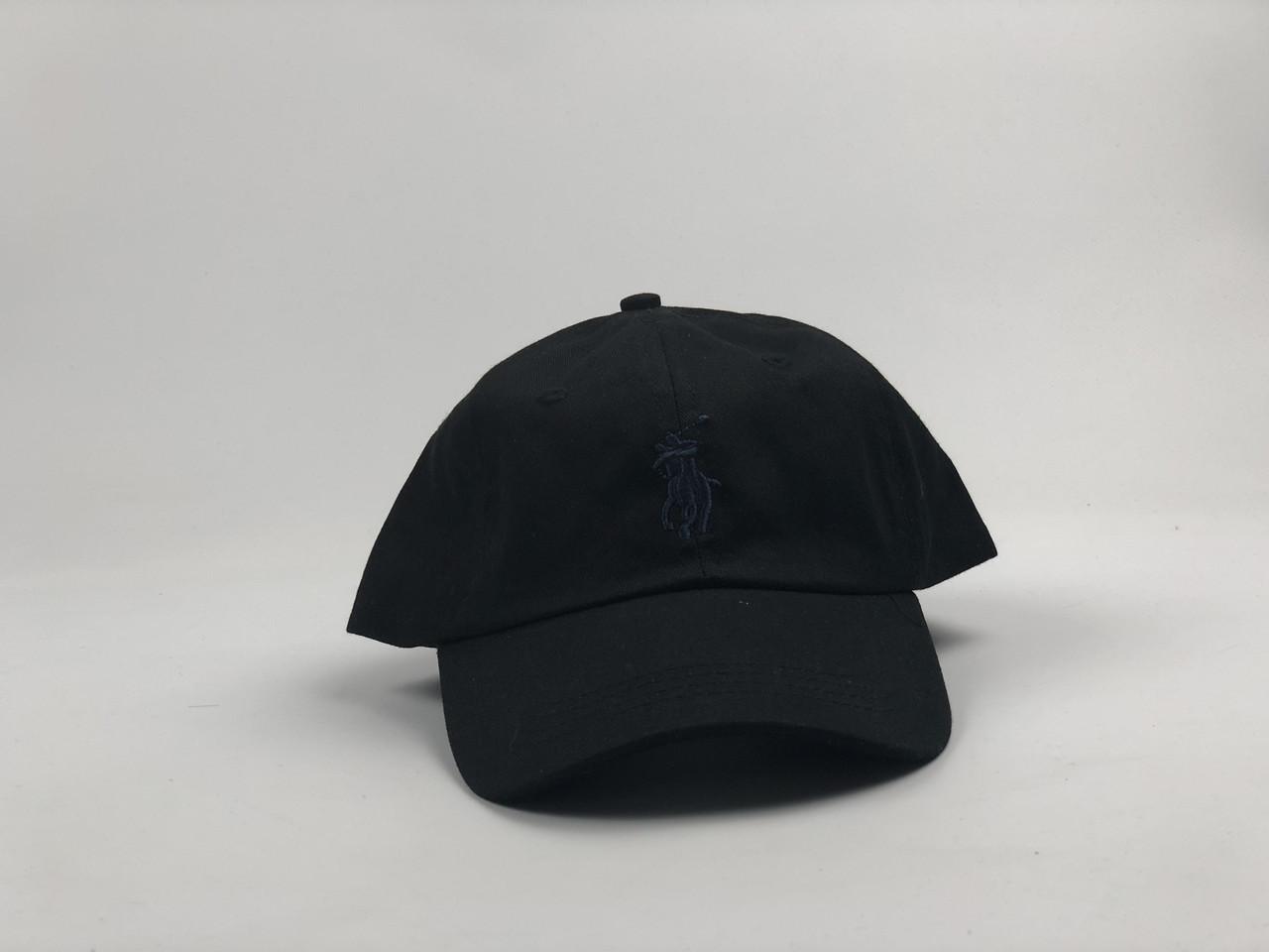 Кепка бейсболка Polo Ralph Lauren (черная с темно-синим лого) с кожаным ремешком