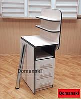 Маникюрный стол с ящиками и полкой. Столешница прямая. Цвет дуб молочный + венге