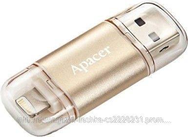 USB флешка Apacer AH190 Dual Lightning 128GB USB 3.1 gold