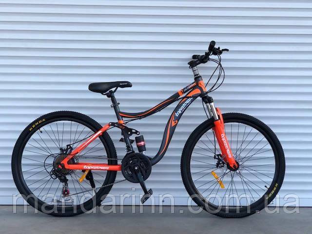 Горный велосипед двухподвес TopRider-910 26 дюймов. Дисковые тормоза.Оранжевый