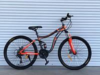 Горный велосипед двухподвес TopRider-910 26 дюймов. Дисковые тормоза.Оранжевый, фото 1