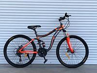 Спортивный велосипед Горный двухподвес TopRider-910 24 дюйма. Дисковые тормоза. Красный., фото 1