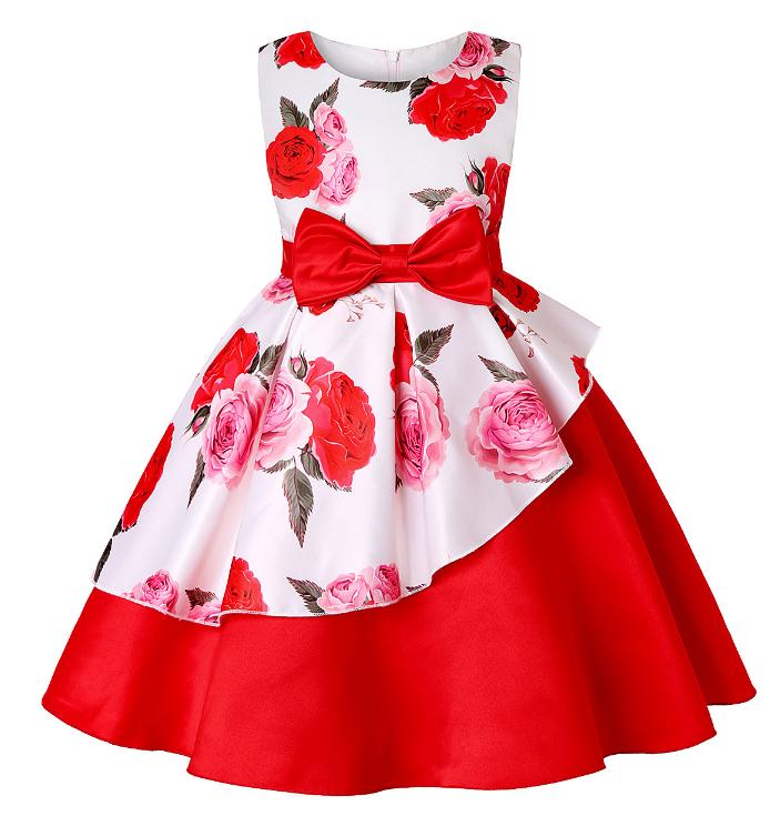Плаття червоно-біла з візерунком троянди ошатне для дівчинки