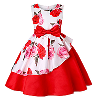 Плаття червоно-біла з візерунком троянди ошатне для дівчинки, фото 1