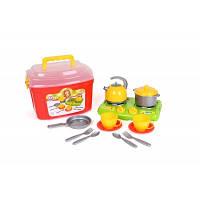 Кухонный набор 10 Технок, Детский набор посуды в ярком чемодане с прозрачной крышкой и удобной ручкой. 5934
