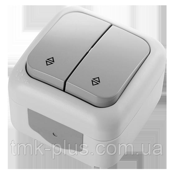 Вимикач 2 відк. прохідний (вологи) Viko Palmiye сірий