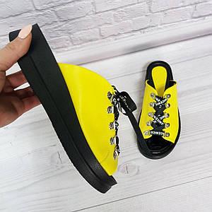 Женские шлепанцы на платформе со шнуровкой из натуральной кожи и замши 36-40р