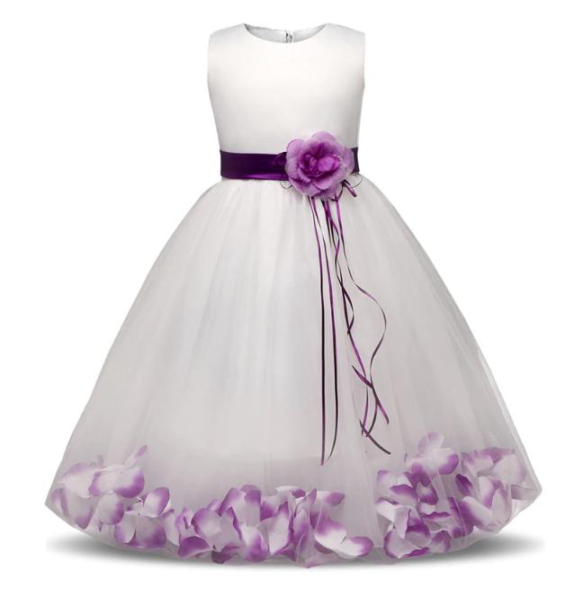 """Платье """"Иллюзия"""" белое с фиолетовым нарядное детское"""