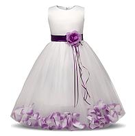 """Платье """"Иллюзия"""" белое с фиолетовым нарядное детское, фото 1"""