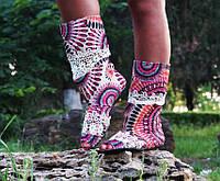 Красивые яркие стильные тканевые женские сапожки в розовых тонах с открытым носком и кружевом. Арт-0190, фото 1